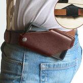 Herren Echtes Leder 4,7 Zoll ~ 6,5 Zoll Phone Bag Taillentasche Easy Carry EDC-Tasche für den Außenbereich