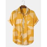 Męskie koszule z krótkim rękawem Colorblock Pocket