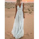 Kadın Puantiyeli Baskı Plaj Sundress V yaka Maxi Elbise