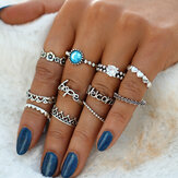 Vintage Crystal Knuckle Ring Set Geometric Silver Rings