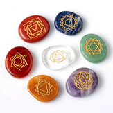 7pcs Engrave Carved Crystal Reiki Healing Stones Decoration Craft Jewelry Accessories