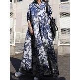 Женщины Ретро отложной воротник с длинным рукавом Винтаж Рубашка Макси Платье с карманом