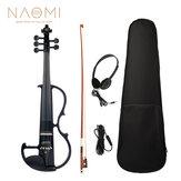 NAOMIフルサイズ4/4バイオリンエレクトリックバイオリンフィドルメイプルボディ指板ペグ顎レスト付きボウケース