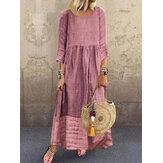 Dames 3/4 mouw O-hals stiksels Vintage maxi-jurk met lange mouwen