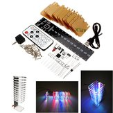 13 Segments Audio Light Column  Light Cube Set Remote Control DIY Electronic Music Spectrum Kit Support Offline Animation Night Light Mode With Transparent Acrylic Shell