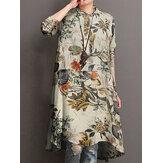 Kadınlar% 100 Pamuk Çiçek Baskı Yüksek Düşük Hem Düğme Uzun Kollu Vintage Bluzlar