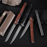 204mm M390 Stainless Steel Blade Folding Knife With Leather Holster Pocket Sandalwood Handle For Survival Camping Hunting Knife Tools