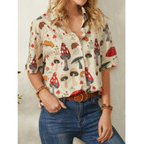 Casual Mushroom Print Lapel Collar Half Sleeve Button Blouse For Women
