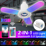 E27 3-Blatt-RGB-Bluetooth-Lautsprecher LED Garage Light Folding Music Lamp + 24-Tasten-Fernbedienung 85-265V