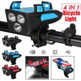 4 in 1 Bike Bicycle Light Waterproof with Bike Horn Phone Holder Power Bank