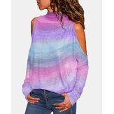 Colorful Tie Dye Printed High Collar Hollow Shoulder Casual T-shirts