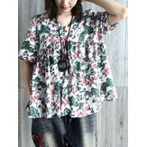 Short Sleeve V Neck Pleated Floral Vintage Blouse