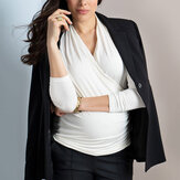 Cotton Clothes Long Sleeve Cross Neckline Stretchy Nursing Tops