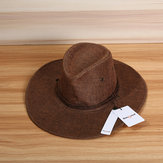 Bang good Men Western Cowboy Hat Outdoor Wide Brim Linen Hat