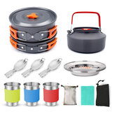 Barbhorse Outdoor Picnic Tableware Camping Pot Trekking Stove Pieces Set Pot + Plates + Kettle + Cups + Forks Cooking Frying Tools