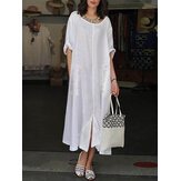 Women Vintage Lace Patchwork Split Hem Crew Neck Short Sleeve Dress