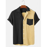 Mens lös Corduroy Button Down Patchwork Pocket andas Casual skjortor