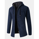 Mens Solid Color Warm Mid-Length Drawstring Hoodie Knitting Coat With Pocket