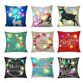 LED Creative Christmas Cushions Cover Christmas Printing Sofa Pillow Case Christmas Part Supplies