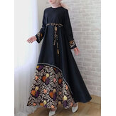 Women Floral Print Patchwork Lace-Up Big Swing Long Sleeve Casual Maxi Dress
