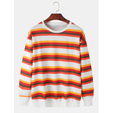 Mens Stripe Print Round Neck Pullover Drop Shoulder Cotton Casual Sweatshirts