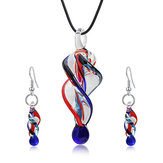 Fashion Crystal Glass Tornado Shape Necklace Necklace Earring