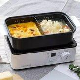 Mini frigideira elétrica multifuncional da máquina de almoço portátil Torradeira de revestimento antiaderente.