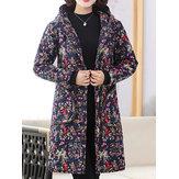 vendimia Mujer Abrigo con capucha y botones con estampado floral