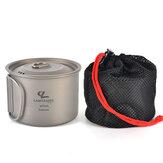 Campleader 450 ml Pot pliant tasse en titane tasse d'eau potable portable Camping en plein air pique-nique barbecue vaisselle avec couvercle de tasse
