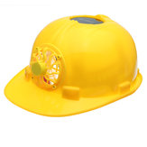 Yellow Solar Power Safety Helmet Work Hard Hat Solar Panel Cooling Fan