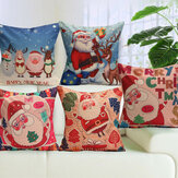 Christmas Santa Cotton Linen Pillow Case Cushion Cover Xmas Home Sofa Bed Decor