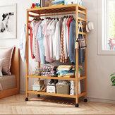 Perchero de madera para ropa Sombrero Estante de perchero colgante Soporte rodante de alta resistencia con 2 niveles Estantes de almacenamiento Estantería