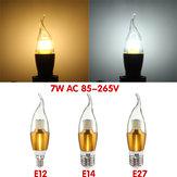 E27 e12 e14 470lm 7W SMD 3014 LED de ouro branco quente luz lâmpada vela branca não-regulável AC 85-265V