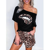 Casual off-shoulder slips print T-shirts Luipaard print shorts Tweedelige sets