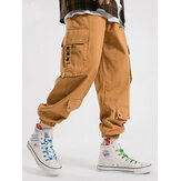 Mens 100% Cotton Utility Drawstring Relaxed Fit Cuffed Cargo Pants