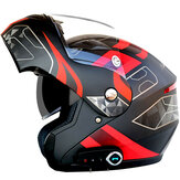 Helm Sepeda Motor Tahan Air Full Face Dengan Bluetooth Music FM Double Visor Removable