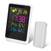 DIGOO DG-TH11200 HD Colorful Mini Weather Station Outdoor Indoor Thermometer Hygrometer Temperature Humidity Sensor Clock with Snooze Function Calendar