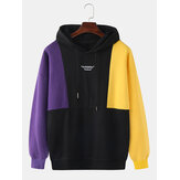 Mens 100% Cotton Colorblock Stitching Letter Embroidery Drop Shoulder Drawstring Hoodies
