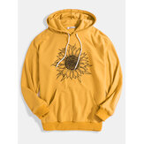 Mens Sunflower Print Relaxed Fit Kangaroo Pocket Drawstring Hoodies
