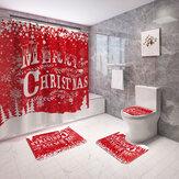 Feliz Natal à prova d'água Banheiro Cortina de chuveiro à prova de molde de capa de banheiro Tapete antiderrapante Conjunto de decoração para casa