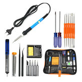 220V 60W Adjustable Temperature Electric Soldering Iron Kit+5pcs Tips Portable Welding Repair Tool