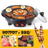 220v Barbacoa eléctrica Hotpot Horno Grill Smokeless Hot Pot Machine Fry BBQ Oven