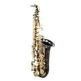 MY S0198 Zwart vernikkelde gouden sleutel Alto E platte messing altsaxofoon witte ketelsluiting