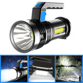 XANES® P500 Double Light 500m Senter Kuat Jarak Jauh dengan COB Sidelight USB Rechargeable Powerful Handheld Spotlight LED Searchlight
