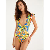 Womens Colorful Leaves Print Ruffles V-Neck Swimwear Backless One Piece