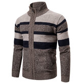 Mens Winter Knitted Cardigan Stand Collar Coat Sweater Knitwear Thick Jacket Cardigan Outwear
