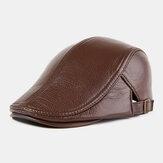 男性本革アウトドア暖かい冬秋革フォワードハットベレー帽
