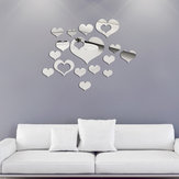 Honana DX-Y2 16Pcs Cute Silver DIY Coração Wall Stickers em parede Home Wall Bedroom Office Decor
