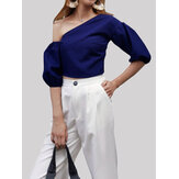 Women Irregular Off Shoulder Puff Sleeve Slim Short Blouse