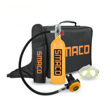 SMACO 1L 20min Scuba Diving Tank Set Scuba Tank Breathing Valve Goggles Storage Bag Swimming Diving Equipment